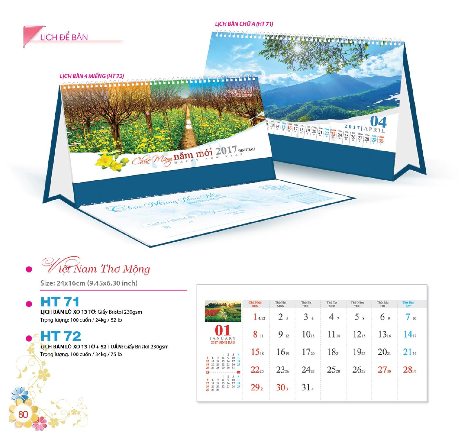 HT-72: Lịch bàn chữ M 13 tờ, 52 tuần - Việt Nam thơ mộng