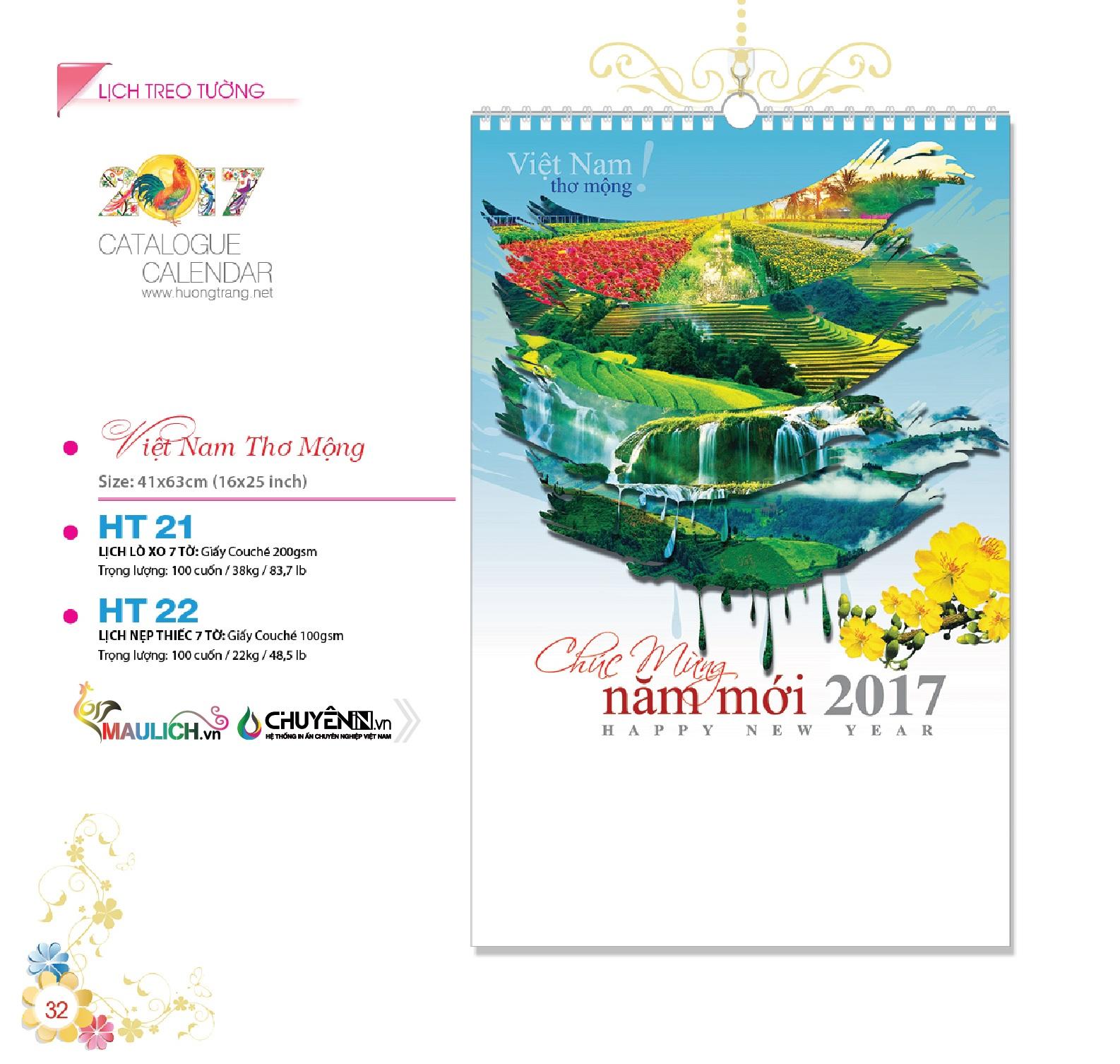 HT-21: Lịch treo tường lò xo 7 tờ - Việt Nam thơ mộng
