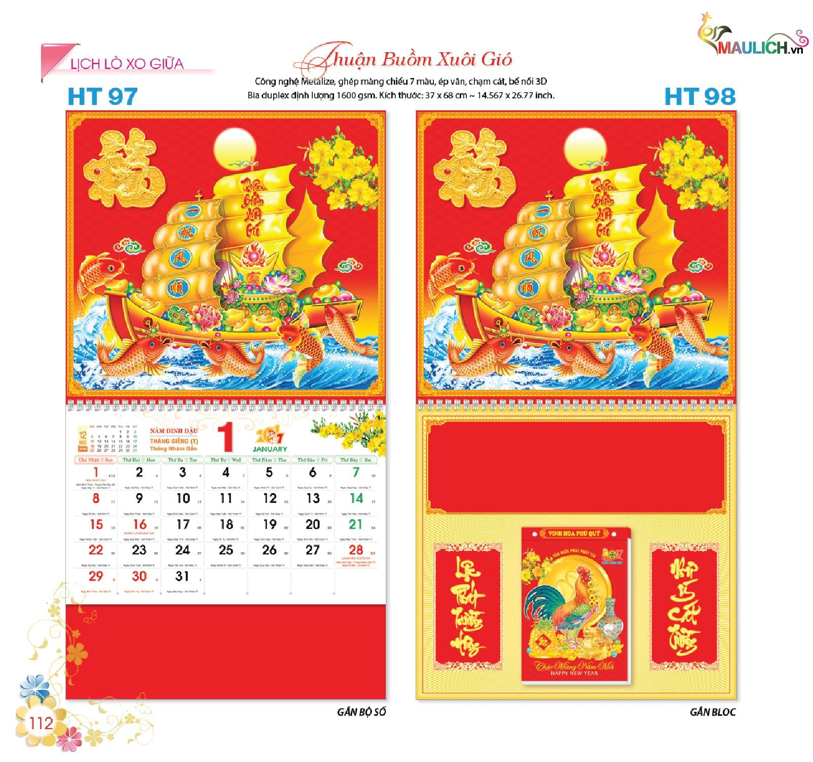 HT-98: Lịch treo tường lò xo giữa (gắn bloc) - Thuận buồm xuôi gió