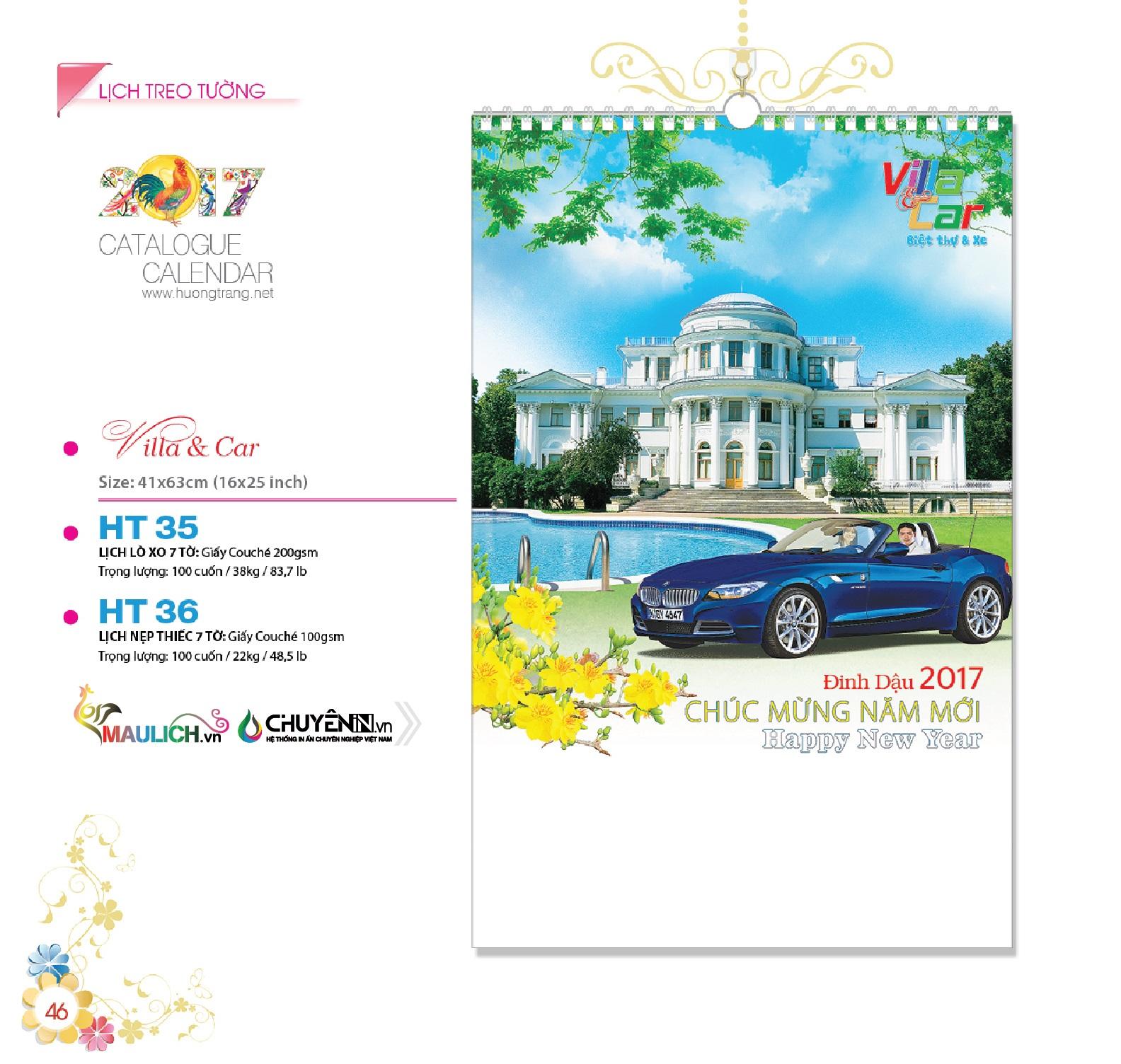 HT-36: Lịch treo tường nẹp thiết (7 tờ) - Villa & Car