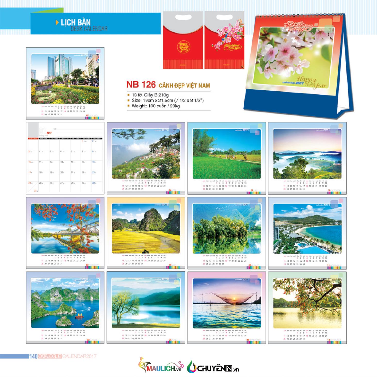 NB-126: Lịch để bản - Cảnh đẹp Việt Nam